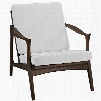 """Pace Collection EEI-1447-WAL-WHI 32"""" Armchair with Removable Cushions Solid Ash Wood Frame and Fabric Upholstery in Walnut White"""