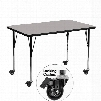 XU-A3048-REC-GY-H-A-CAS-GG Mobile 30'W x 48'L Rectangular Activity Table with 1.25' Thick High Pressure Grey Laminate Top and Standard Height Adjustable
