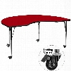 XU-A4896-KIDNY-RED-T-A-CAS-GG Mobile 48'W x 96'L Kidney Shaped Activity Table with Red Thermal Fused Laminate Top and Standard Height Adjustable