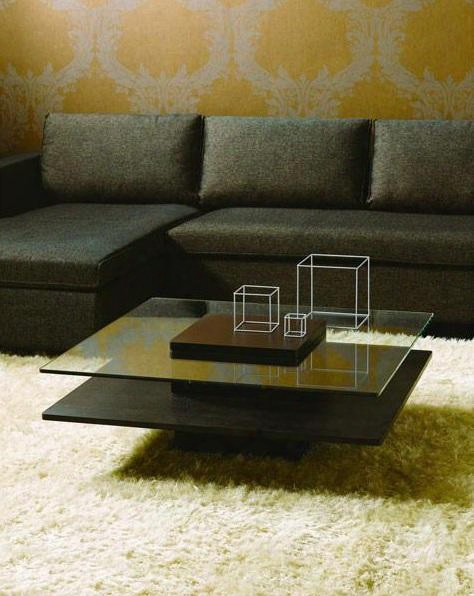 """Vghbhk22a-blk Modrest Emulsion 39"""" Square Coffee Table With Two Tiersdesign And Storage Slot In Lsck Oak Gloss"""