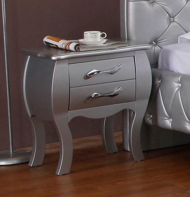 Vgkcplatinum-ns Modrest Monte Carlo Nightstand With 2 Drawers Mdf Frame Metal Handles And Hard Solid Wood Legs In