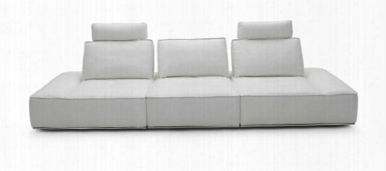 Vgkk1323-o-wht Divani Casa Orchid Sofa With Admustable Headrests Reclining Backseat And Full Italian Leather Upholstery In