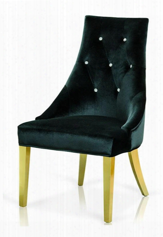 Vgunaa031-blkgld A&x Charlotte Dining Chair With Crystal Back Tufts Flared Tapered Legs And Velour Fabric Upholstery In