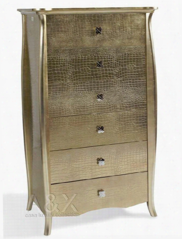 Vgunaw554-76 A&x Imperial Chest With 6 Drawers Crocodile Texture And Decorative Hardware In Gold