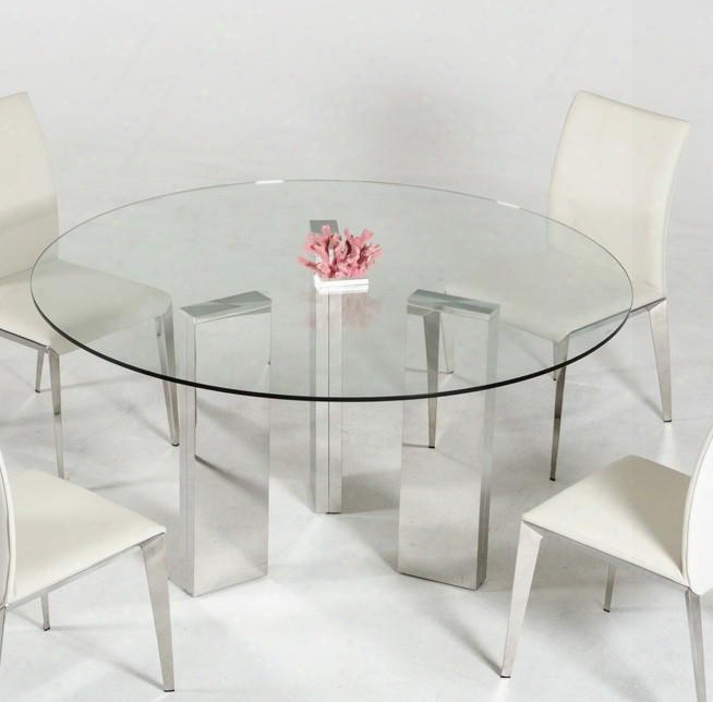 "Vgvct8956-3 Modrest Colin 59"" Round Dining Table With 12mm Clear Glass Top And Stainless Steel"