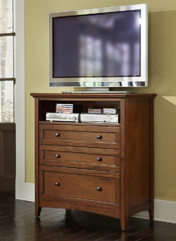 """Westlake Wslcb5740 40"""" 3-drawer Media Chest With Felt Lined Top Drawers Open Shelf With Wire Management And Gunmetal Hardware In Cherry Brown"""