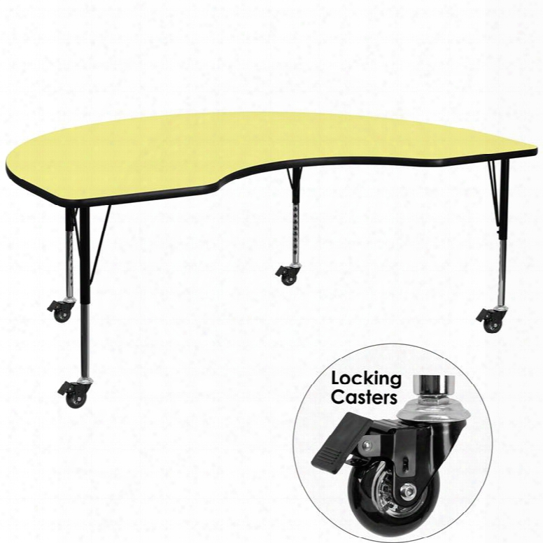Xu-a 4896-kidny-yel-t-p-cas-gg Mobile 48'w X 96'l Kidney Shaped Activity Table With Yellow Thermal Fused Laminate Top And Height Adjustable Pre-school