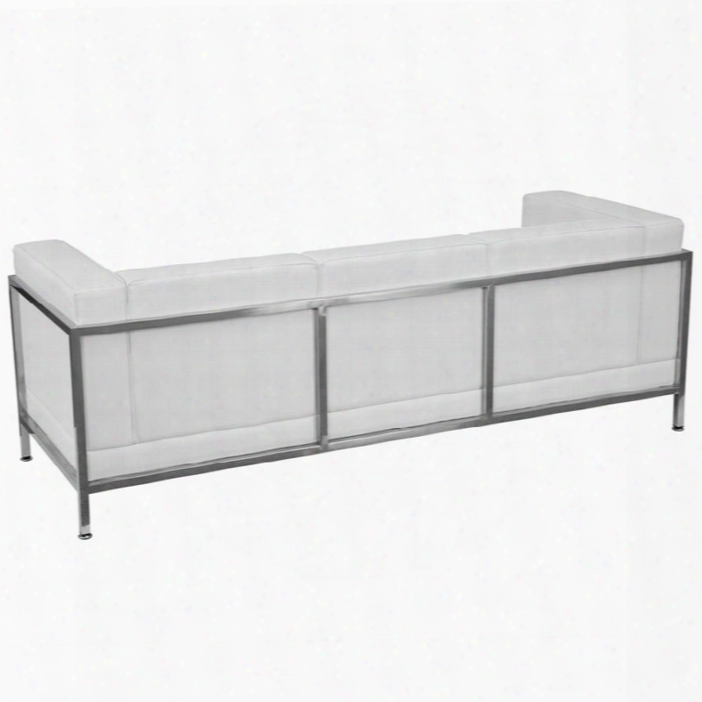 Zb-imag-sofa-wh-gg Hercules Imagination Series Contemporary White Leather Sofa With Encasing