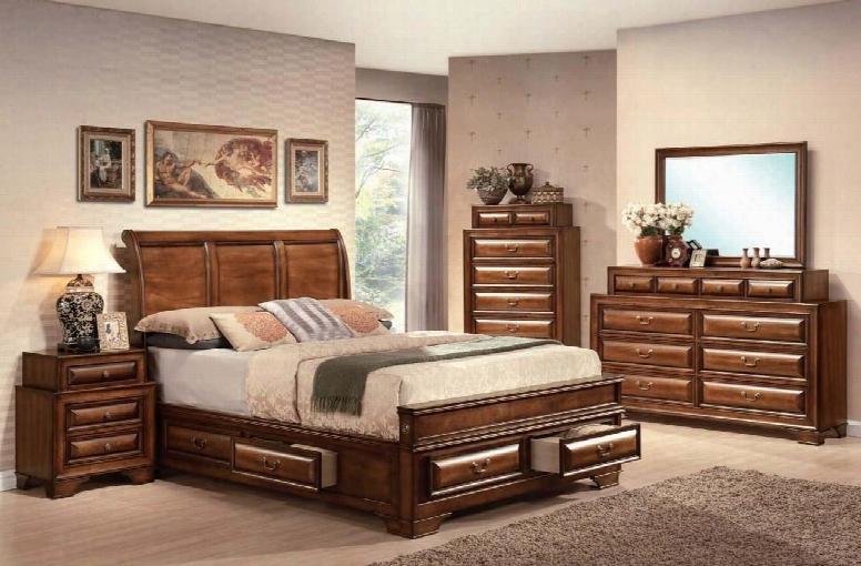 20444ek4pcset Konane Eastern King Size Bed + Dresser + Mirror + Nightstand With Storage Drawers Decorative Curve Headboard Panel Wood And Veneer In Brown