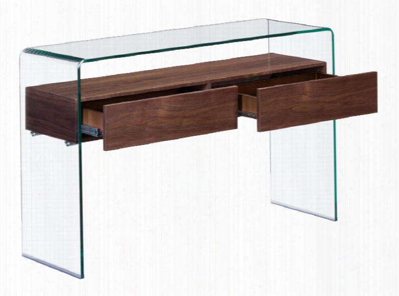 """404067 Shaman 44"""" Console Table With Clear Glass Body And Warm Walnut"""