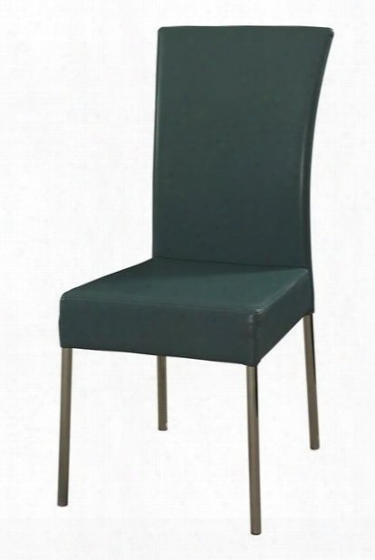 433496 Cameo Teal Dining Chair With Slim Waterfall Faux Leather Profile And Sturdy Chrome Metal Frame In Teal