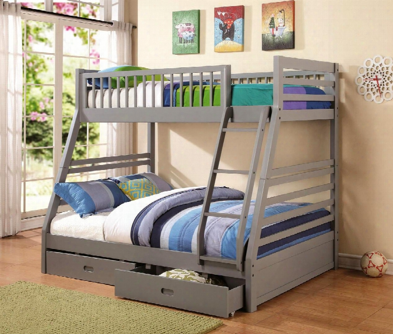 460182 Cooper Twin And Full Bunk Bed With Two Stoarge Drawers Attached Ladder And Safety Rails In