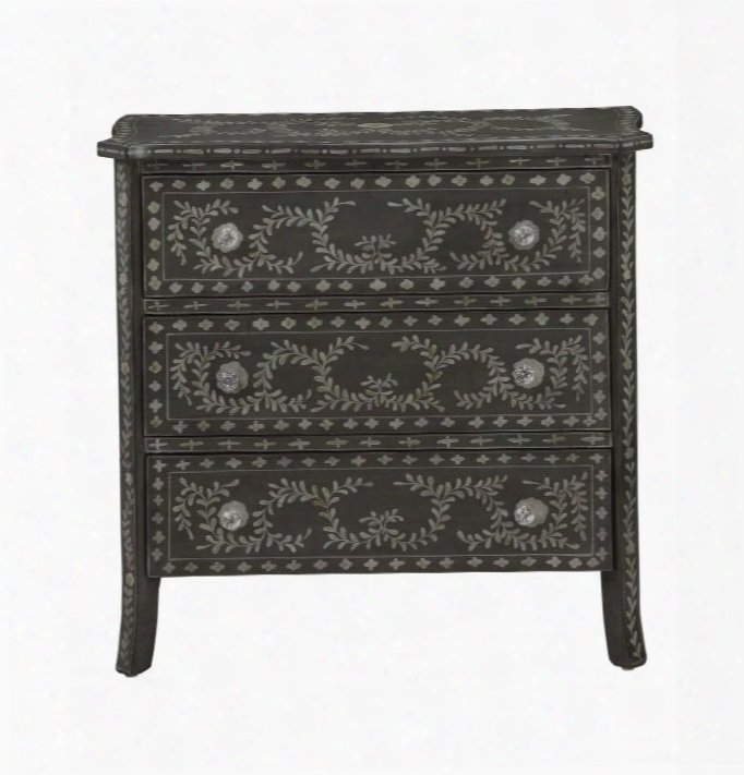 "61628 34"" Chest With 3 Drawers Hand Painted Scrolls And Crystal-like Knobs In Hobby Hill"
