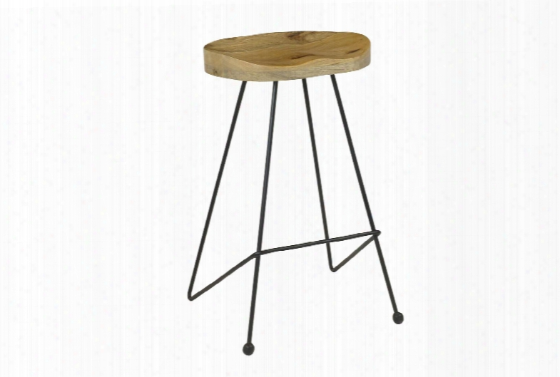 """68255 31"""" Barstool With Contoured Seat Black Metal Legs And Stretchers In Natural"""