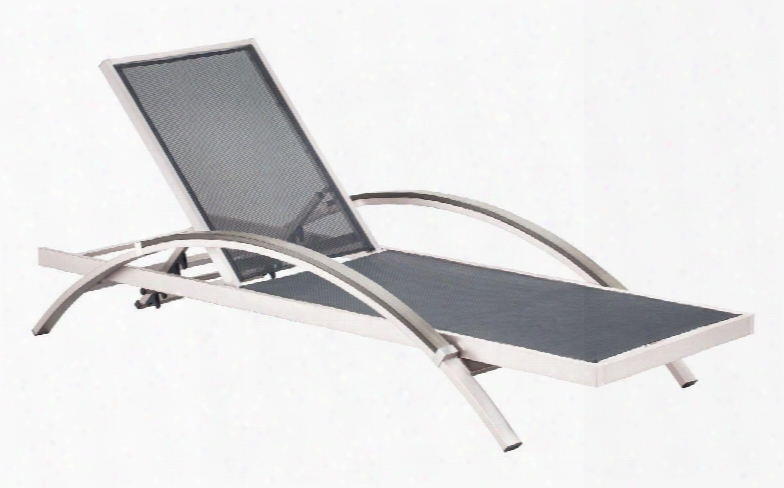 "703187 Metropolitan Collection 30"" Chaise Lounge With Adjustable Levels In Brushed Aluminum"