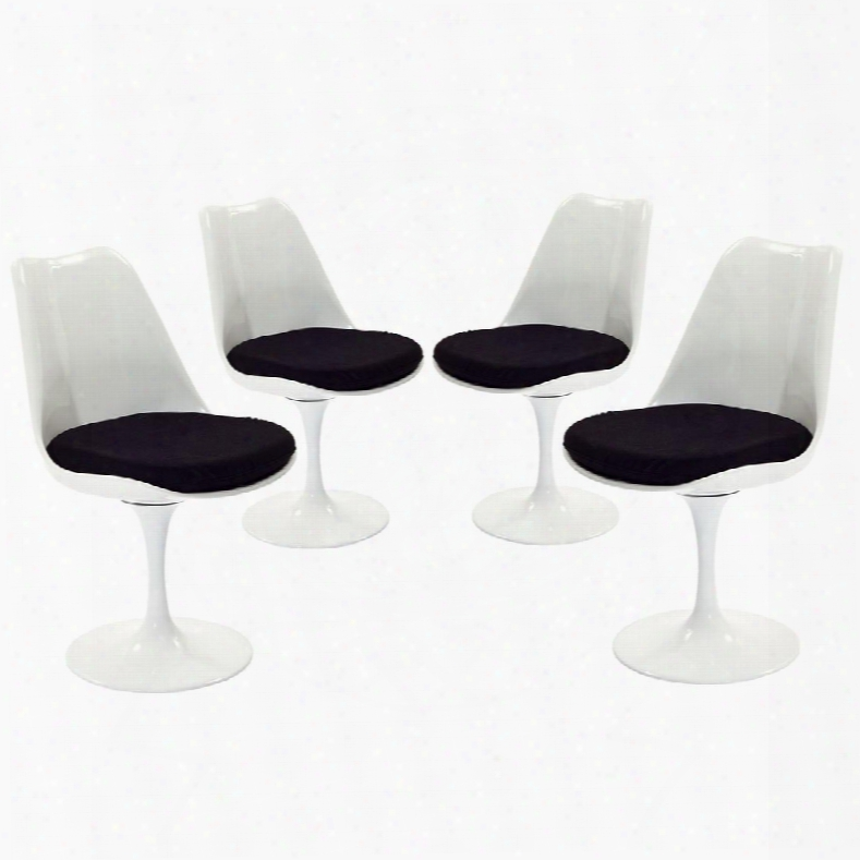 Eei-1342-blk Set Of 4 Lippa Dining Side Chair With Pedestal Base In Black