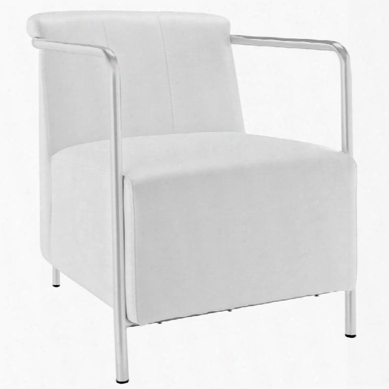 Eei-1439-whi Ebb Vinyl Lounge Chair In White