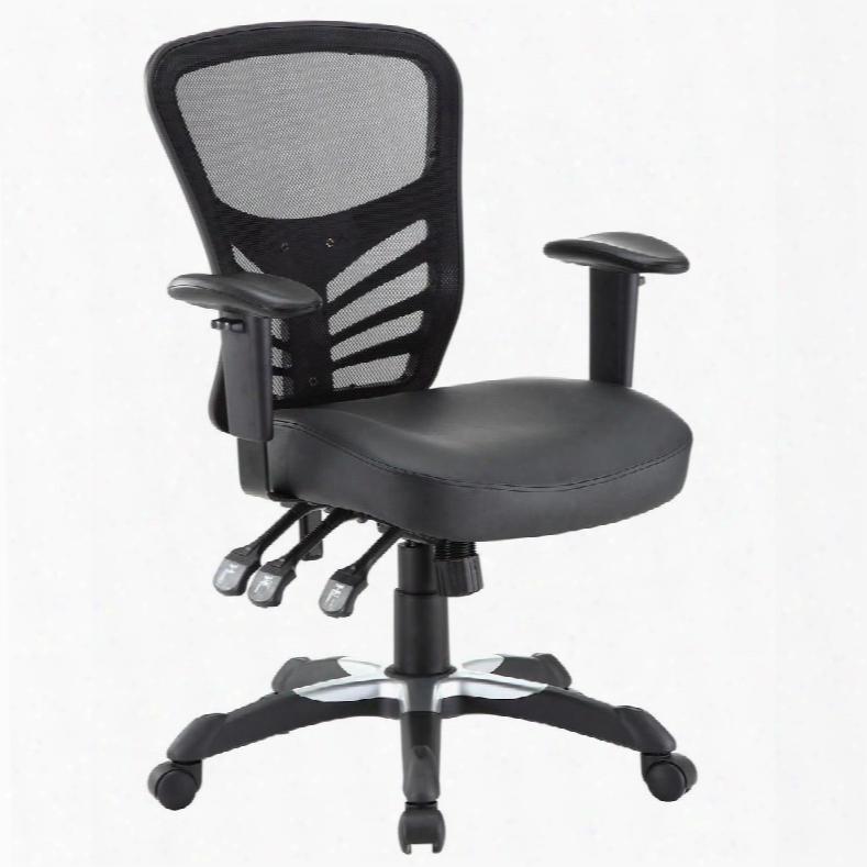 Eei-755-blk Articulate Vinyl Office Chair In Black