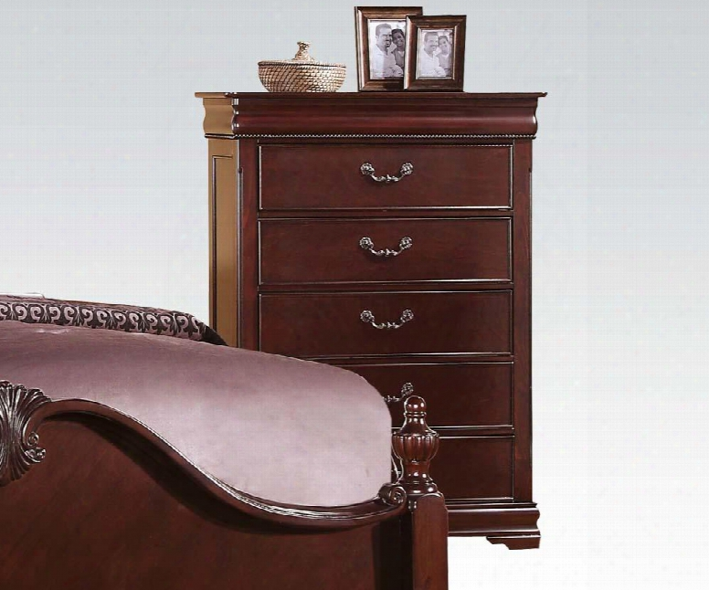 "Gwyneth Collection 21866 38"" Chest With 6 Drawers Felt Lined Top Drawerr Kenlin Drawer Glide And Solid Pine Wood Construction In Cherry"