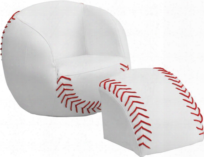 Hr-3-gg Kids Baseball Chair And Footstool In Red And White
