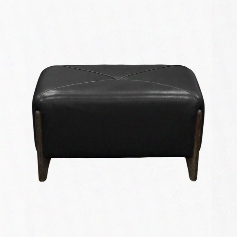 """Monaco Monacoro 31"""" Rectangular Bench Accent Ottoman With Blended Leather Upholstery Ash Wood Trim A Nd Feet In Black"""