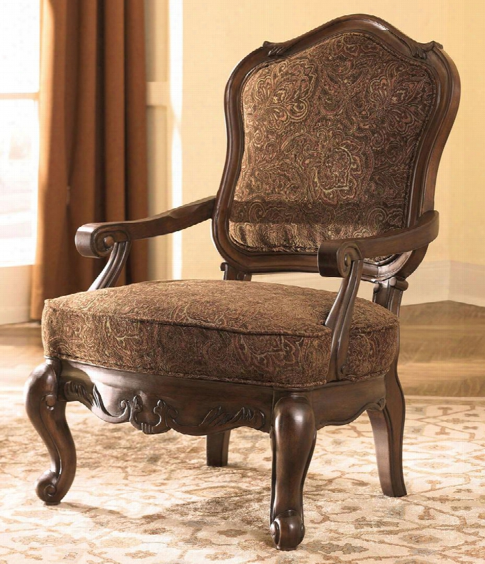 North Shore 2260360 Showood Accent Chair With Scrolling Arms Solid Hardwood Frame And Fabric Upholstery In Dark