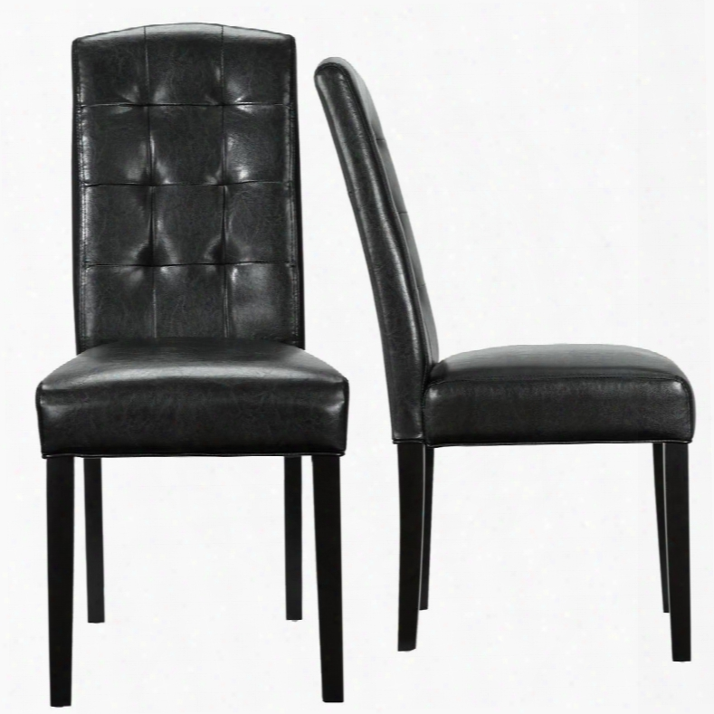 "Perdure Eei-952-blk 40"" Dining Chairs Set Of 2 With Vinyl Upholstery Tapered Legs And Tfuted Detailing In Black"