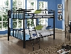 "938-137 66"" Heavy Metal Full Over Full Bunk Bed with Sturdy Step Ladder in Black"