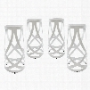 EEI-1361-WHI Ribbon Bar Stool Set of 4 in White