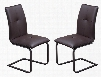"LU134DCCH Set of 2 37"" Spring Back Dining Chairs with Tubular Painted Steel Base and Leatherette Upholstery in Chocolate"