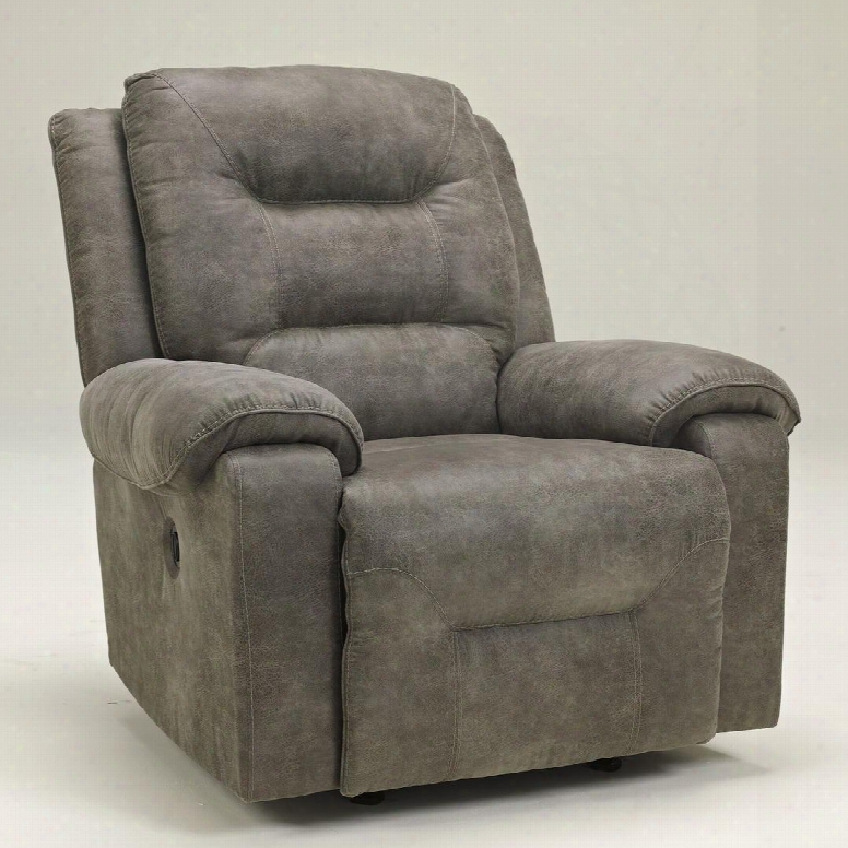 """Rotation 9750198 40"""" Power Rocker Recliner With Plush Padded Arms Divided Back Design And Stitching Details In Smoke"""