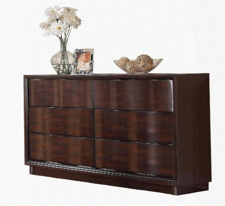 """Travell Collection 20525 63"""" Dresser With 6 Drawers Wavy Design Side Metal Drawer Glides And Pine Wood Construction In Walnut"""