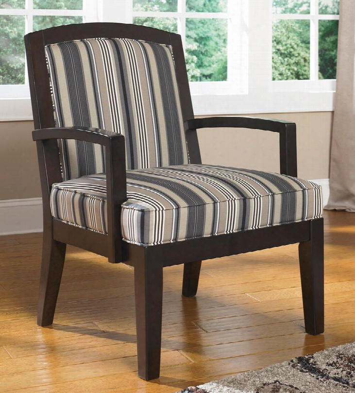 Yvette 7790060 Showood Accent Chair With Hardwood Frame Stripe Pattern Upholstery And Grooved Apron Joints In Steel