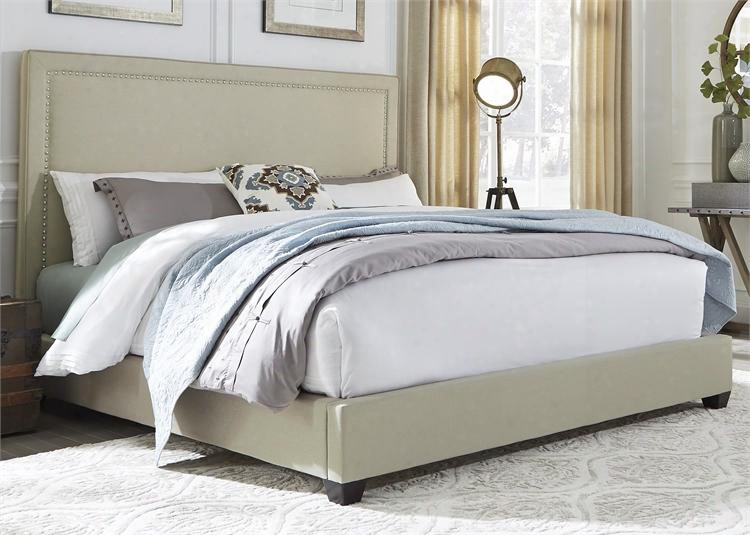 100-br-kpb King Panel Bed With Nail Head Trim Fabric Upholstery And Tapered Blck Feet In Natural Lineen