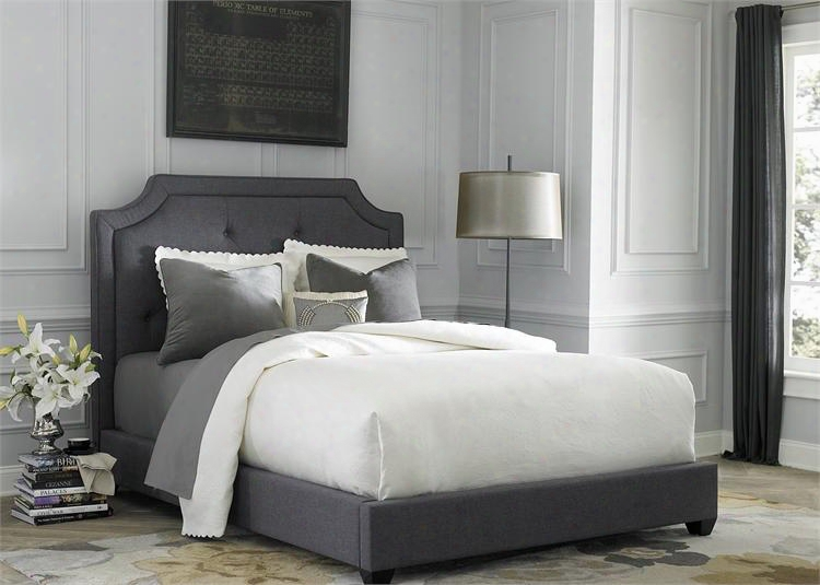 150-br-kub King Upholstered Bed With Button Tufted Headboard F Abric Upholstery And Tapered Block Feet In Dark