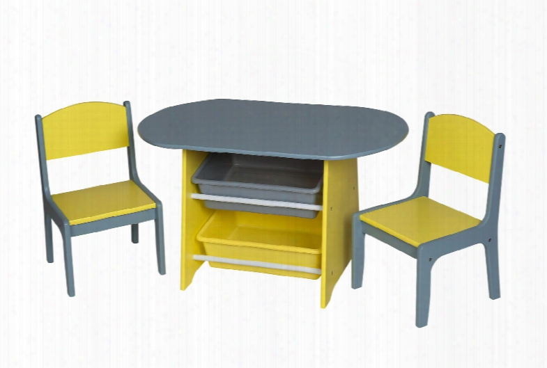 3040gy Children's Oval Table W/2 Chairs And Storage Bins -