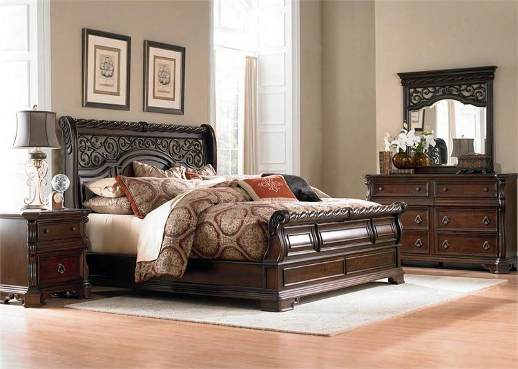 Arbor Place Collection 575-br-ksldmn 4-piece Bedroom Set With King Sleigh Bed Dresser Mirror And Night Stand In Brownstone