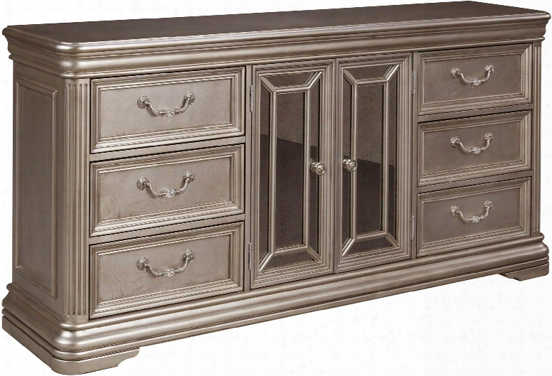 """Birlannt Collection B720-31 72"""" Dresser With 6 Drawers 2 Framed Mirrored Doors 2 Interior Adjustable Shelves Carved Moldings Fluted Pilasters And"""