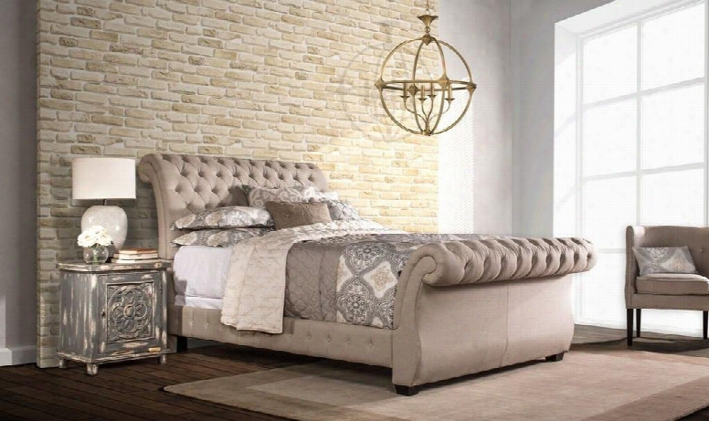 Bombay 1118bkrl King Sized Bed With Sleigh Headboard Footboard And Rails In Linen Stone