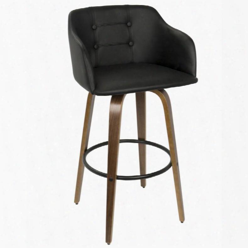 Bs-jy-brn Wl+bk Bruno Mid-century Modern Barstool With Swivel In Walnut And