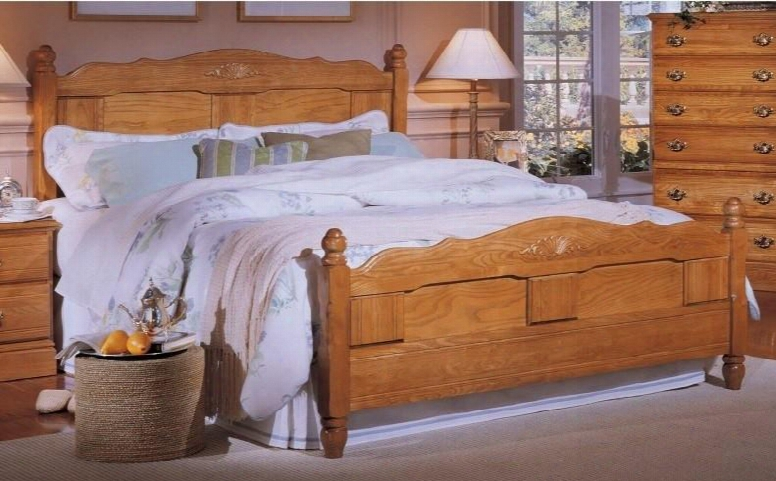 """Carolina Oak 237850-982500-79091 63"""" Queen Sized Bed With 5 Legged Metal Frame And Panel Headboard In Golden"""