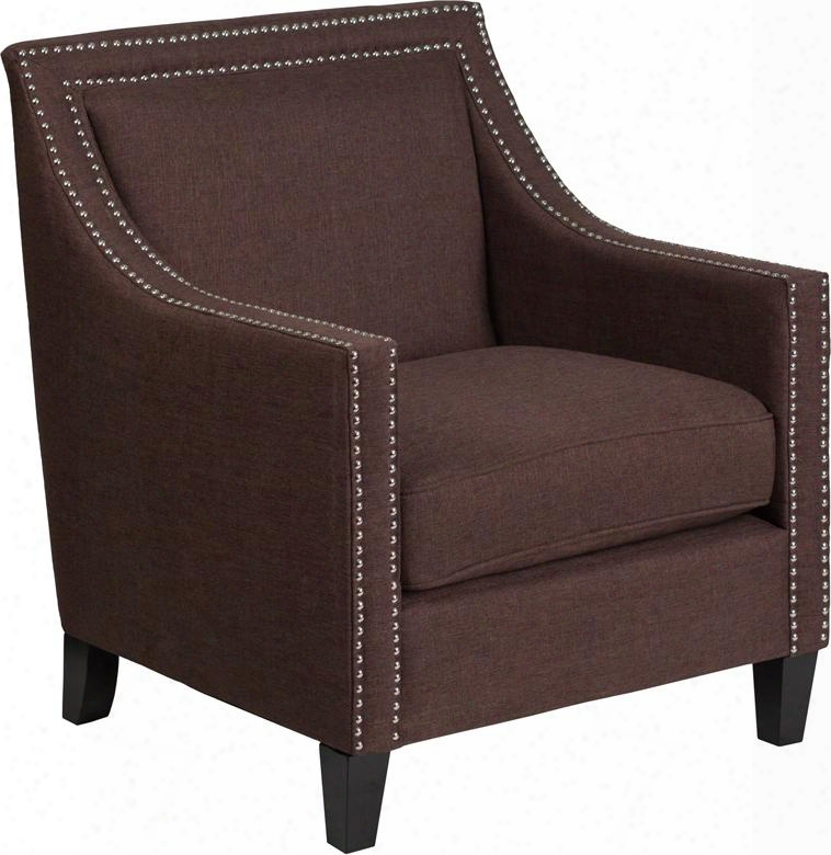 Ch-us-173030-bn-gg Hercules Compass Series Transitional Brown Fabric Chair With Walnut