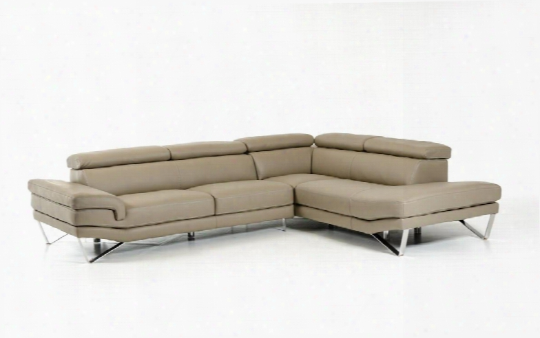 """David Ferrari Aria Collection Vgftaria-gry 119"""" 2-piece Italian Leather Sectional Sofa With Left Arm Facing Sofa And Right Arm Facing Chaise In"""