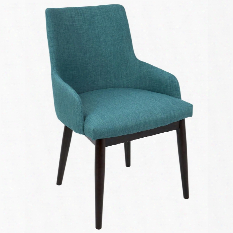 Dc-sntgo Wl+tl2 Santiago Mid-century Modern Dining / Accent Chair Teal Fabric Upholste Ry - Set Of