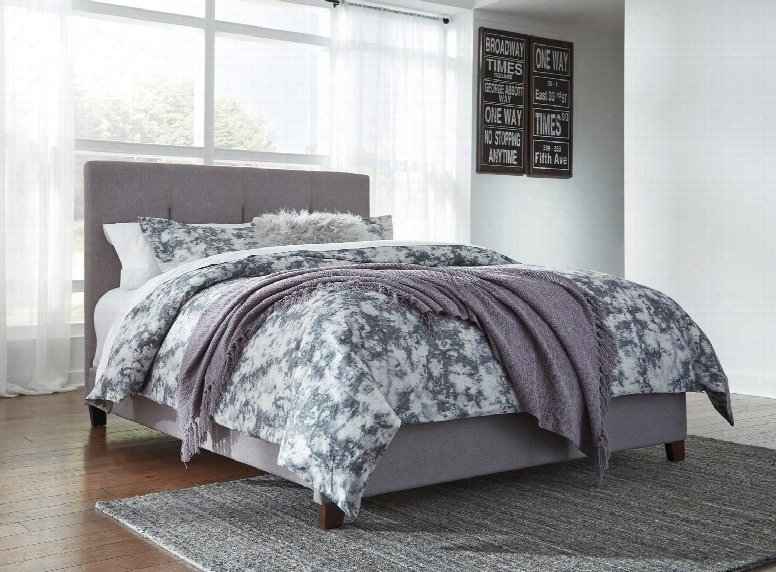 Dolante Collection B130-781 Queen Size Bed With Fabric Upholstery And Vertical Channel-tufted Headboard In