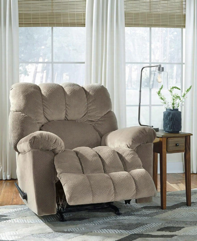 "Dombay Collection 5860425 39"" Rocker Recliner With Plush Pillow Top Armrests Cushioned Fan Back Design Lever Handle Channel Tufted Leg Rest And Padded Suede"