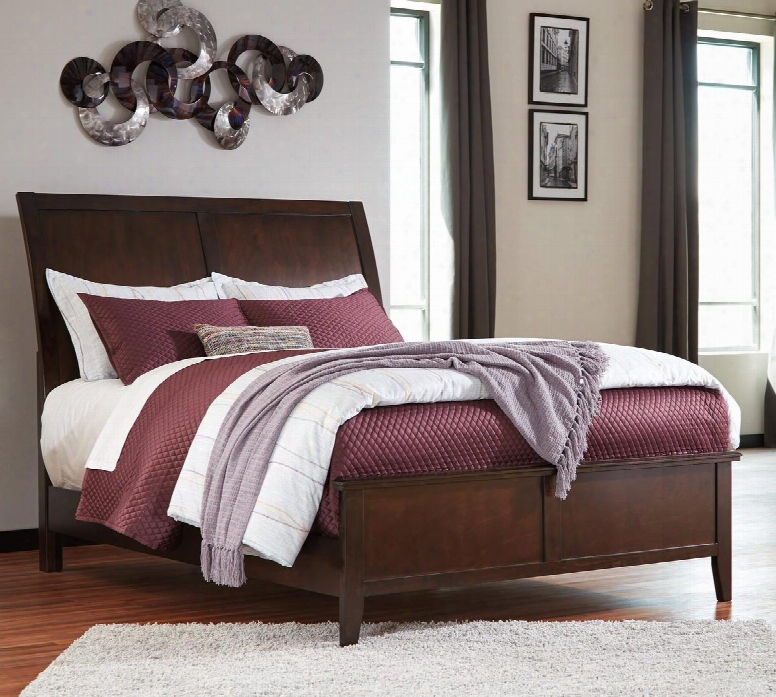 Evanburg Collection B598-58-94 California King Size Bed With Sleigh Style Headboard C Lean Line Design Tapered Legs Okoume Veneer And Hardwood Solid