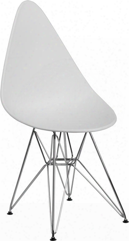 Fh-251-cpp-wh-gg Allegra Series Teardrop White Plastic Chair With Chrome