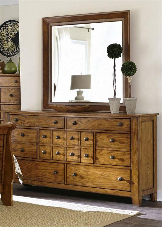 Grandpa's Cabin Collection 175-br-dm 2-piece Bedroom Set With Dresser And Mirror In Aged Oak