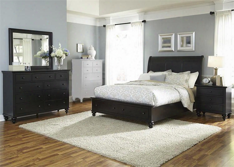 Hamilton Iii Collection 441-br-ksbdmn 4-piece Bedroom Set With King Storage Bed Dresser Mirror And Night Stand In Black